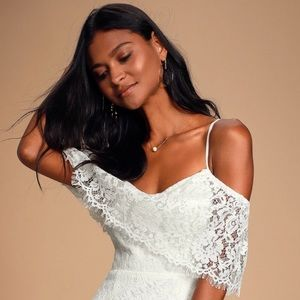 Lulus White Off The Shoulder Lace Maxi Dress Slit